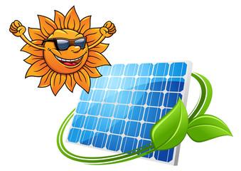 Happy cartoon sun with solar panel