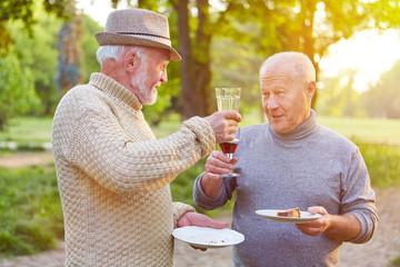 Zwei Senioren stoßen mit Wein an