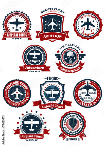 Aviation and air travel banners or emblems - 79429971