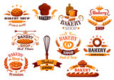 Bakery and bread symbols or banners