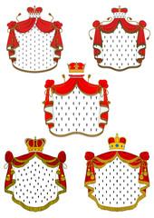 Heraldic red royal mantles set