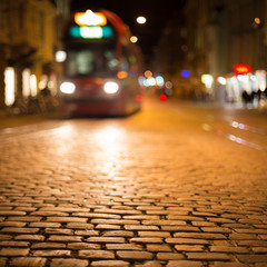 blurred tram in Freiburg at night