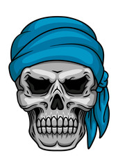Pirate skull in blue bandana