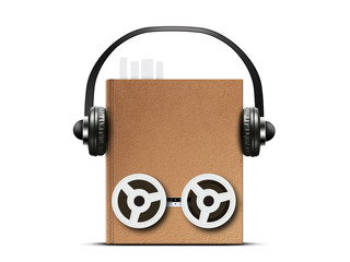 Audio book with headphones and coils from a tape recorder