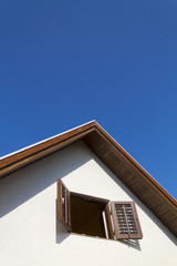 Top of house on clear sky
