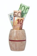 Cash into barrel bank