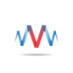 V - red letter, logo idea, overlapping technique