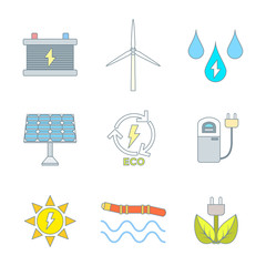 vector color outline recycle ecology energy icons set