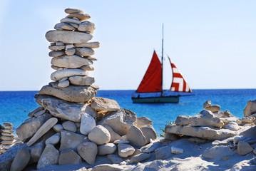 piedras y barco