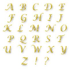 English alphabet gold color