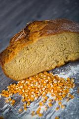 Corn bread on wooden table
