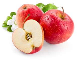 Red apple. Fruit with drops and leaves. With clipping path