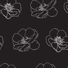 Seamless pattern with wild roses