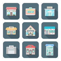 vector color flat design various buildings icons set