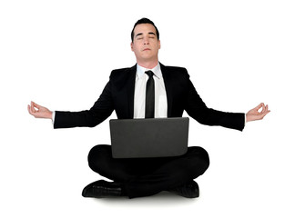 Business man meditation with laptop