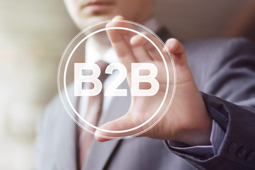 Businessman pressing button b2b icon web.