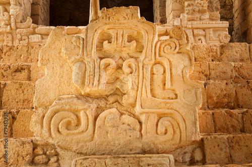 Fotobehang Caraïben Mayan glyphs at the Acropolis. Mayan site of Ek Balam, Mexico