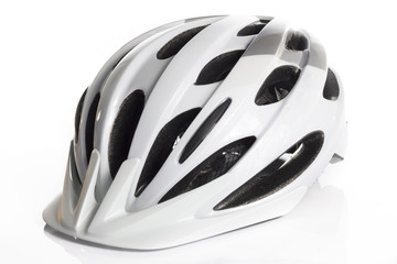 White Bicycle Helmet in White background