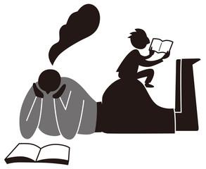 読書する夫婦