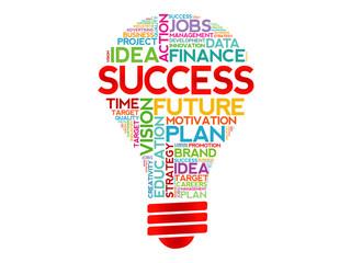 SUCCESS bulb word cloud, business concept