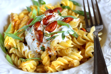 Fusilli with Spiced Almonds and Herbal Dressing