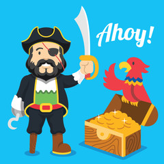 Pirate with saber,parrot and treasure chest