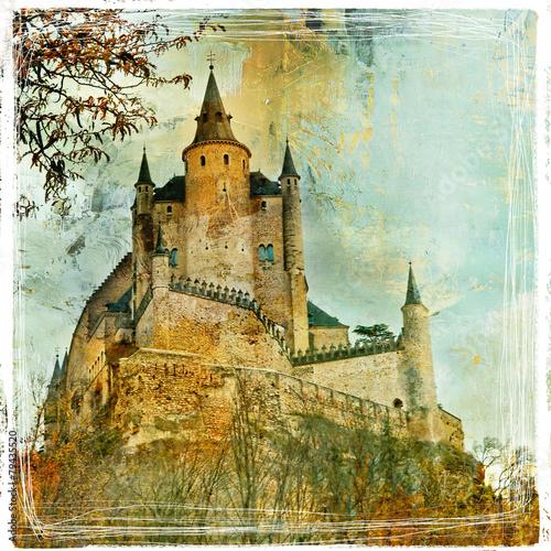 Aluminium Madrid Fairy castle Alcazar, Segovia, Spain, artistic picture