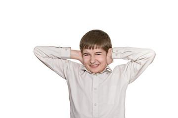 boy doing facial expressions