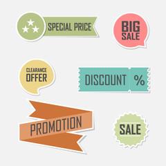 Banner set of offer flat elements lable design