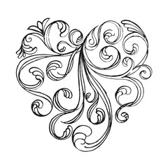 Filigree calligraphy of heart shape abstract drawing art design.