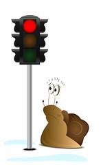 Cartoon wondering snail with semaphore