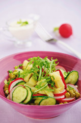 salad with potatoes and cucumber