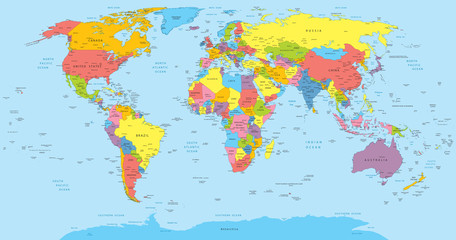 World map with countries, country and city names
