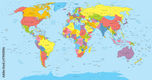 Fototapeta World map with countries, country and city names