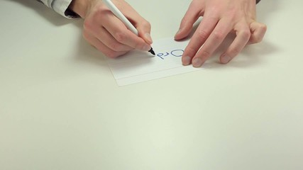 Man hands write the note Order