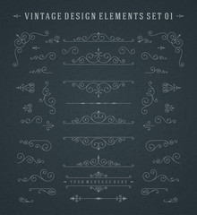 Vintage Vector Swirls Ornaments Decorations Design Elements