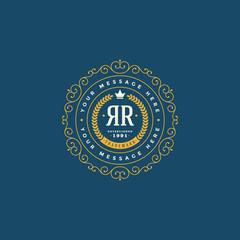 Flourishes calligraphic monogram emblem template