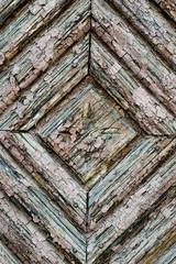 Weathered wooden door detail closeup