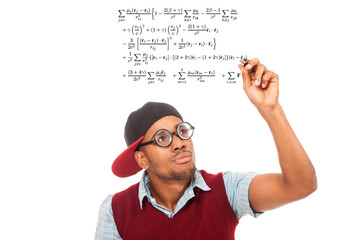 Black guy nerd with pen in his hands over white isolated backgro