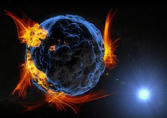 Pianeta asteroide esplosione in fiamme