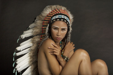 Native American Indian Headdress and Face Paint