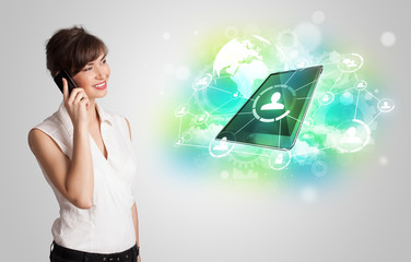 Business girl showing modern tablet technology concept
