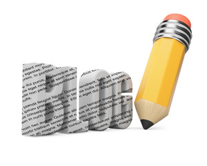 Pencil and blog word.  Blogging concept