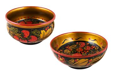 Деревянная старинная русская посуда с росписью Хохлома.