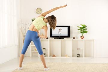 Girl Exercise, Watching TV