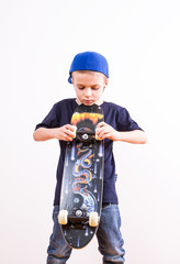 Little boy with skateboard