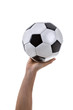 Hand holding a soccer ball on white background