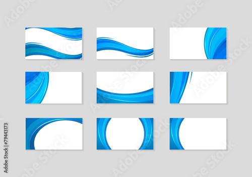 Zdjęcia na płótnie, fototapety, obrazy : Set of Business Card with abstract blue waves