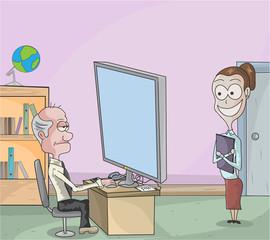 Office man with secretary illustration