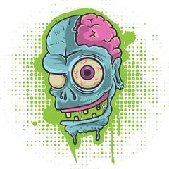 Zombie head on grunge background